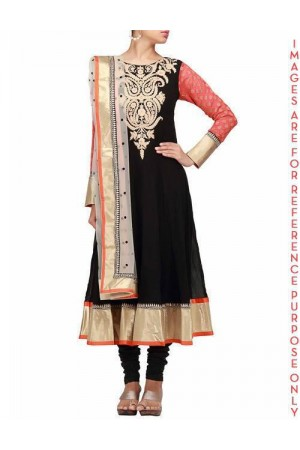 Beautiful anarkali dress in black with thread embroidery