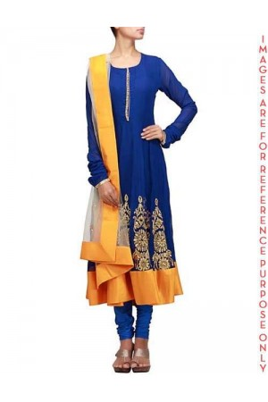 Blue and Golden Anarkali suit