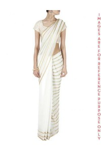 White sequin embellished sari