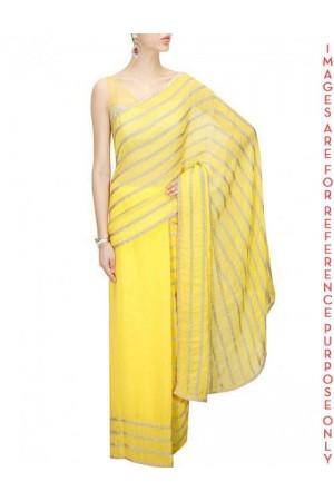 Yellow Sequin Embellished Sari