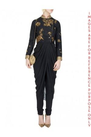 Black georgette drape Kurta with Embroidered motifs