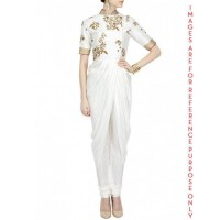 Ivory georgette drape embroidered Kurta