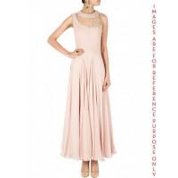 Taupe midi dress with sheer yoke