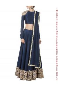 Navy Blue raw silk Embroidered Lehenga