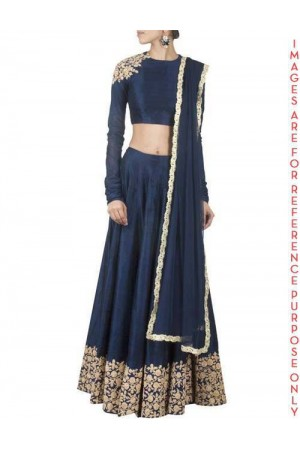 Navy Blue raw silk Embroidered Lehenga