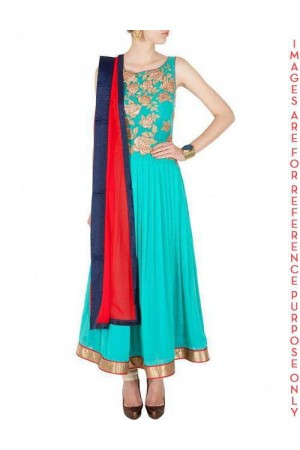 Sky Blue french Chiffon sleeveless Anarkali