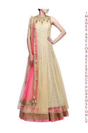 Golden beige full sequins Anarkali Lehenga with embroidered Neckline