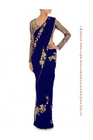 Blue Georgette saree cluster sequin work on saree and blouse