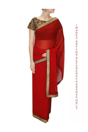 Red border sari with black cutwork blouse
