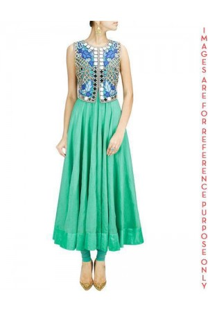 Aqua Anarkali Set with Jacket Mirror Work Falisa Vest