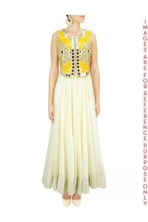 Light Yellow Anarkali Set with Jacket Mirror Work Falisa Vest