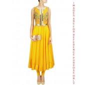 Sunny Yellow Anarkali Set with Jacket Mirror Work Falisa Vest
