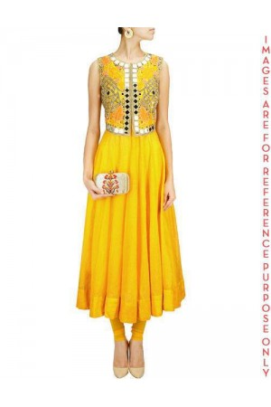Sunny Yellow Anarkali Set with Jacket Mirror Work Falisa Vest