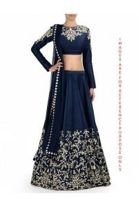 Midnight Blue Lehenga Set with Badla Zari Embroidery
