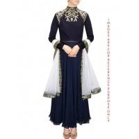 Navy Blue Anarkali suit with Off White Net Dupatta