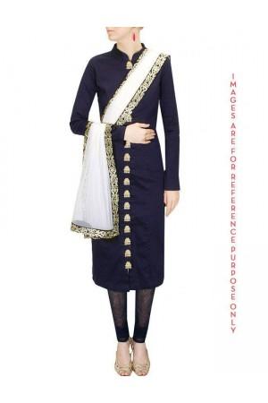 Navy Blue Zardosi Embroidered Kurta Set with Off White Dupatta
