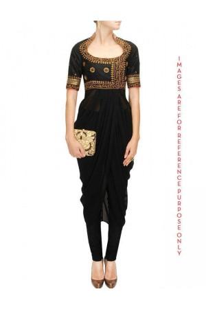 Black Embroidered Drape Set with Jari and Mirrors Work