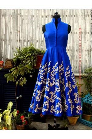 Cobalt Blue Resham Embroidered Dress
