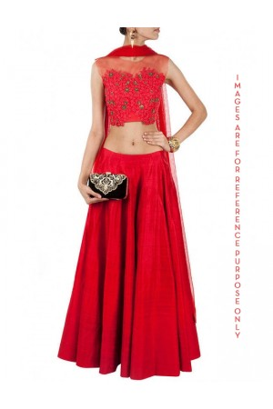 Red lehenga with sheer embroidered blouse