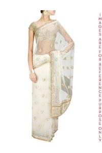 Off White Gota and Zardosi Sari with Fully Embroidered Blouse Piece