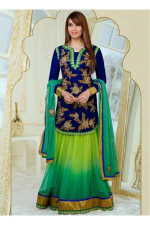 Enticing Bipasha Basu Blue and Green Reception Lehenga Kameez