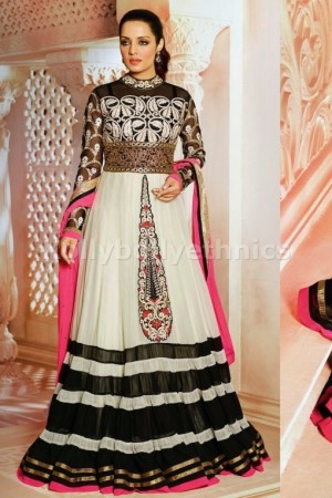 Celina Jaitley Gold beige floor length anarkali