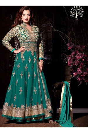 Dia Mirza Teal Net Anarkali Suit