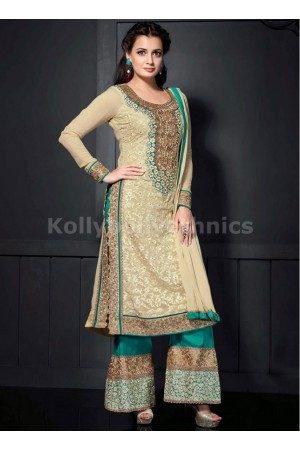 Cream and green colour Dia mirza designer suit