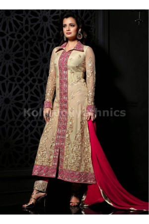 Beige and pink Dia mirza designer suit