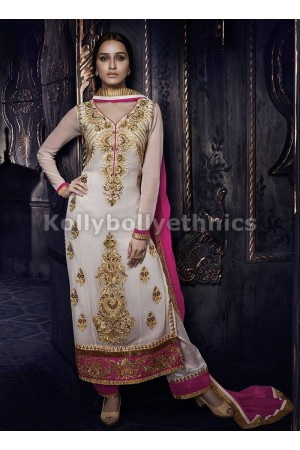 Shraddha Kapoor white and pink straight cut salwar kameez