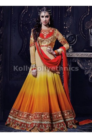 Shraddha Kapoor shaded orange and red anarkali
