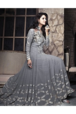 Hit Colour Plus Grey Floor Length Anarkali Suit