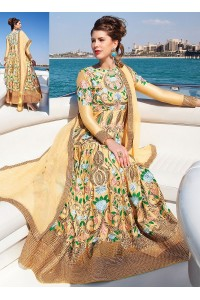 Luxury Designer Splendid Light Yellow Anarkali Suit