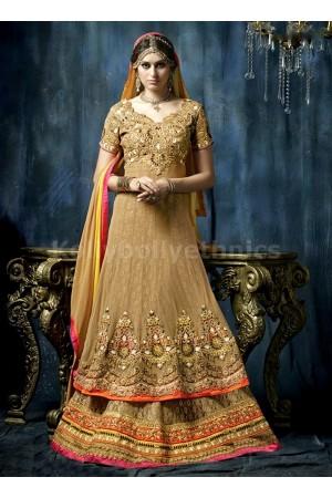 Beige colour Wedding wear anarkali