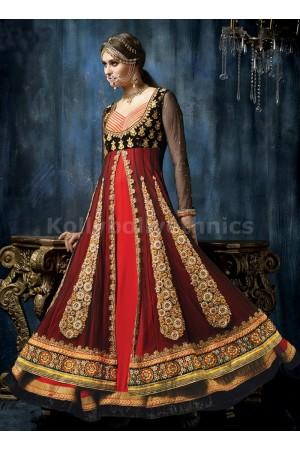 Black red and orange layered exclusive Wedding wear anarkali