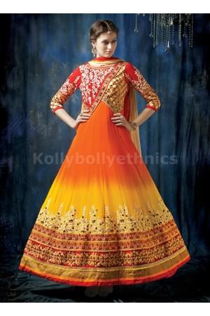 Orange yellow and cream shaded Wedding wear anarkali