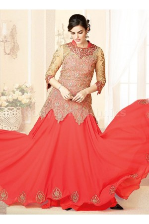 Peach georgette Party Wear Anarkali