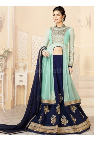 Turquoise blue and dark blue designer lehenga