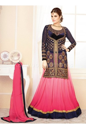 Pink and blue Party Wear Lehenga