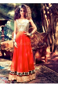Kangana Ranaut Designer Red Mirror Work Anarkali Suit