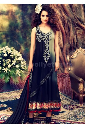 Kangana Ranaut Designer Grey Shaded Anarkali Suit