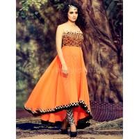 Kangana Ranaut Designer Orange Georgette Anarkali Suit