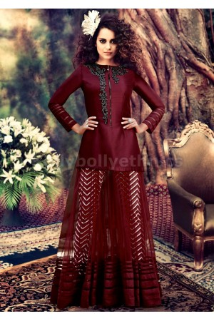 Kangana Ranaut Maroon Georgette On Net Churidar Suit