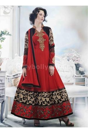 Black and red Wedding Wear Designer Anarkali salwar kameez