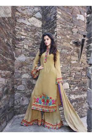 Beige colour palazzo style Party wear straight cut salwar kameez