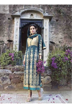 Teal colour Party wear straight cut salwar kameez