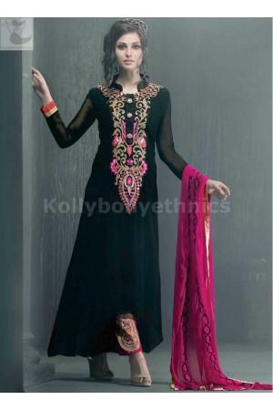 Black and hot pink Designer Party Wear Straight Cut Long Salwar kameez