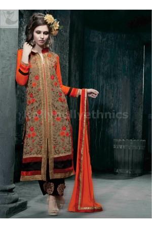 Beige and orange Designer Party Wear Straight Cut Long Salwar kameez