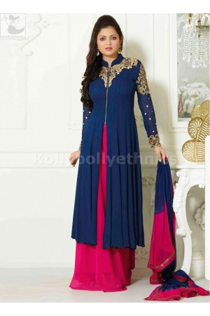 Dharsti Dhami Palazzo style pink blue designer kameez