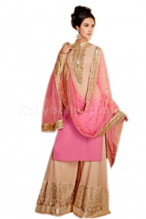Pink and Beige colour palazzo type Party Wear anarkali
